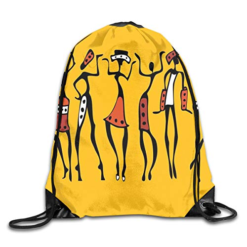 PPOOia Drawstring Backpacks Bags Daypacks,African Dancers Sketchy Characters Ethnic Group Clan Disco Happy Graphic,5 Liter Capacity Adjustable for Sport Gym Traveling