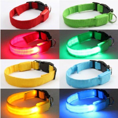 hundeinfo24.de FamilyMall(TM) Hunde Katze LED Halsbänder Hundehalsband Leuchthalsband Blinklicht Leucht gelb