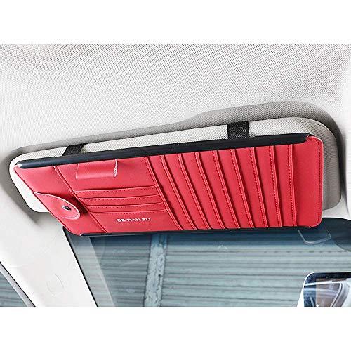 Mirage Auto Sonnenblende Veranstalter Brett Zubehör-Speicher-Halter, Multifunktions Disc Speicherclip, Brown (Color : Red)