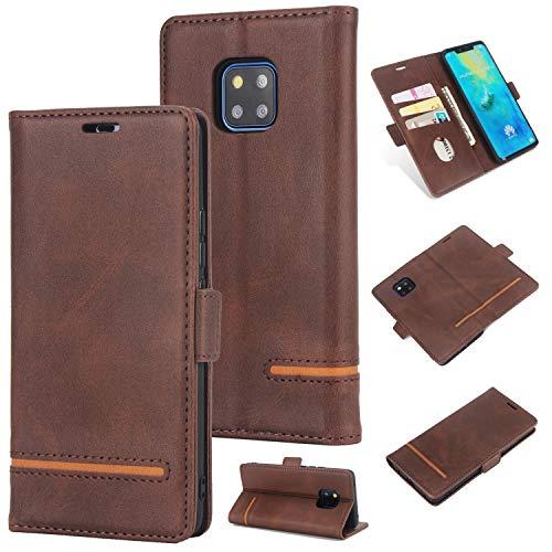 Preisvergleich Produktbild Huawei Mate 20 Pro (6, 39 Zoll) Handyhülle [Premium Leder] [Standfunktion] [Kartenfach] [Magnetverschluss] PU Schlanke Leder Brieftasche für Huawei Mate 20 Pro (6, 39 Zoll) (5) (2)