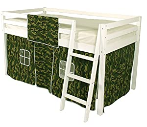 Beddybows Cabin Bed Mid Sleeper Loft Bunk Tent - Curtain Only Camo