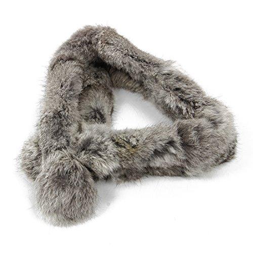 Echte Kaninchen Fell (REFURBISHHOUSE Fashion 100% echtes Kaninchenpelz Kurzer Kragen Ansatz Waermer Schal warme Verpackung grau)