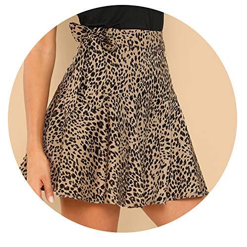 Wild-lOVE Falda de Nudo Estampado de Leopardo en la Rodilla Elegante y Casual, Cintura Media, minifaldas - Multi - Large