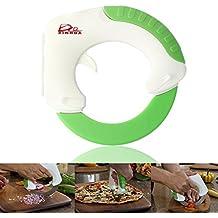 Bolo–Cuchillo de chef (mango ABS y aparatos electrodomésticos en acero inoxidable, cuchillo de cocina para vegetales circular, cuchilla para pizza, fruta, queso, carne. Diseño creativo.
