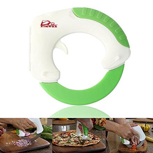 Bolo - Coltello da cucina circolare, con impugnatura in ABS e accessori in acciaio Inox, per pizza, frutta, verdura, formaggio e carne