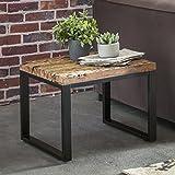 FineBuy Design Beistelltisch BALLARI Massivholz Tisch Anstelltisch mit Metallgestell | Industrie Couchtisch eckig modern Holztisch mit Metallbeinen | Loft Wohnzimmertisch modern