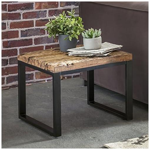 finebuy design beistelltisch ballari massivholz tisch anstelltisch mit metallgestell industrie. Black Bedroom Furniture Sets. Home Design Ideas