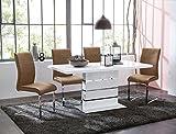 Säulentisch Anna 120(160)x80x76 cm weiß Hochglanz Esszimmertisch Esstisch Tisch Küchentisch Ausziehtisch