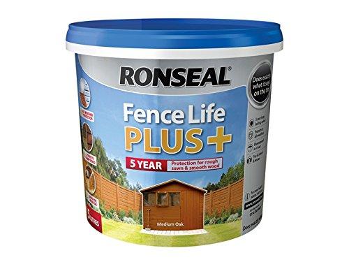 ronseal-rslflppmo5l-5-litre-fence-life-plus-paint-medium-oak