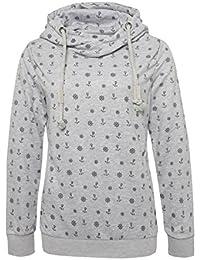 SUBLEVEL Damen Sweathoodie mit allover Anker Steuerrad Print   Sportlicher Kapuzenpullover im Maritimen Look
