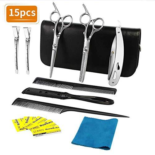 NWOUIIAY Haarschere Set 16Pcs Friseurschere Professionell Haarscheren 2 edelstahl scharfe Effilierschere präzise Haarschnitte -