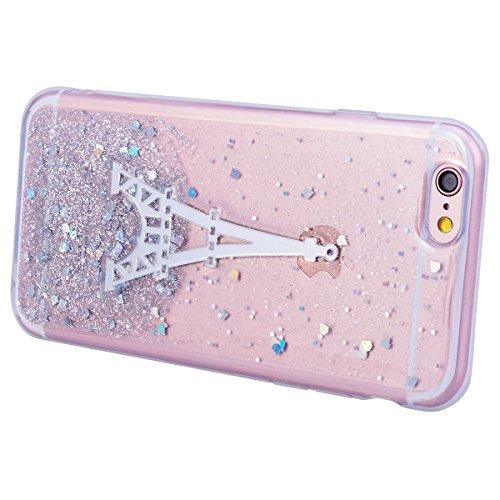 Coque iPhone 7 Plus, HB-Int Housse de Protection Antichoc Silicone Souple Flexible Etui Doux Soft Ultra Léger Protecteur Case Cover pour Apple iPhone 7 Plus avec Motif Amour Rose Tour Argent