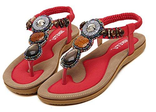 Y-BOA Sandales T-Strap Femme Chaussure Eté Vintage Bijou Perles Folklorique Bohême Plage/Vacances/Casual Rouge
