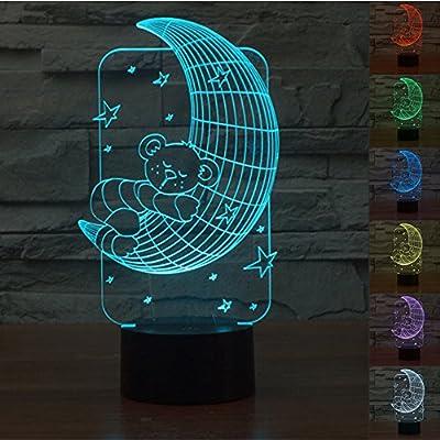 Ours de lune 3D Lampes Illusions Optiques, FZAI Amazing 7 Changing Colors Acrylique Touch Button Table Bureau Night Light avec 150cm Câble USB Décoration de maison