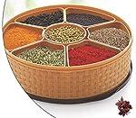 MIR Woven Masala Rangoli Box (Dabba) - 7 Sections, 1000ml, Assorted Colour (Multicolour).
