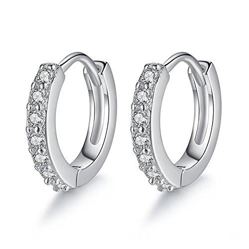 Epoch World orecchini donna, elegante Argento orecchini cerchio di Zirconia Cubica da Donna