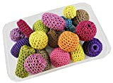 #2: eshoppees set of 20 pcs assorted designs and colors crochet knitted crosia wrapped beads for jewellery making art and craft diy project kit