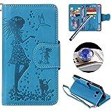 [Samsung Galaxy J5(2016) ] Cuero Funda,Samsung Galaxy J5(2016) Folio Caja de Cuero Leather Wallet Case, ETSUE Elegante Flores en Relieve Gato y Belleza Niña Patrón Caja Funda de Telefóno para Samsung Galaxy J5(2016) con 9 pieza Ranura para Tarjeta + 1 x La horca cuerda + 1 x Azul Stylus Pen + 1 x tapón anti polvo (colores aleatorios) - Gato chica ,azul