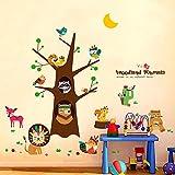 Dessin animé mignon indien animal arbre mural sticker enfants chambre bébé chambre...