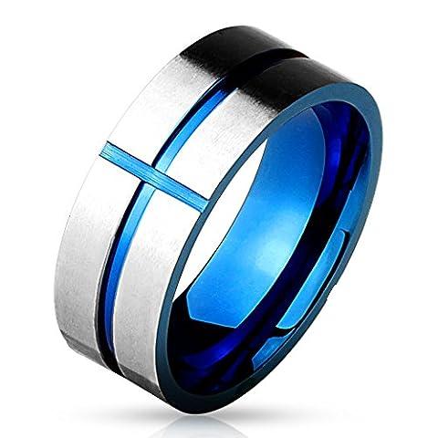 Bungsa® 67 (21.3) Ring blaues Kreuz auf silbernem Ring für