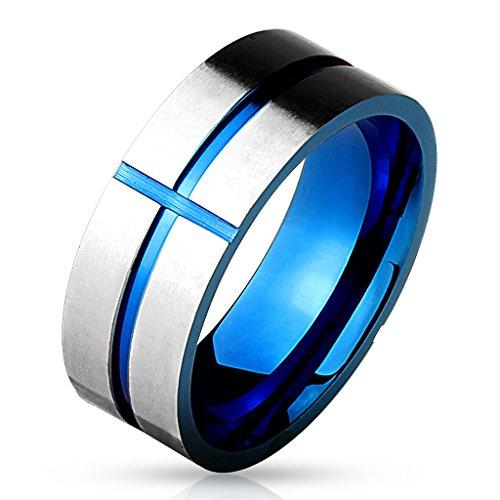 bungsa® Anello Croce Blu su argento anello per uomo in acciaio inox (uomini Finger Ring Anello da Uomo in Acciaio Inox Anello Acciaio Chirurgico Blu Argento), acciaio inossidabile, 70 (22.3), colore: Blau, cod. 2199n