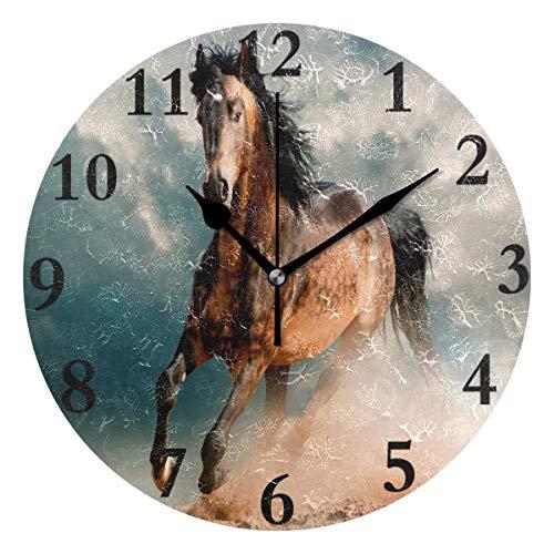 Hectwya Wanduhr Galerie Mustang Horse Dekorative Stille Klassische runde Uhr ohne Ticken -