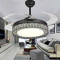 Uberlegen Kaluori 42 Zoll Deckenventilatoren 4 Einziehbare Lamellen LED  Deckenventilator Drei Farbwechsel Kristall Kronleuchter Mit Fernbedienung (