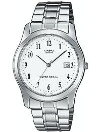CASIO MTP-1141A-7B - Reloj de cuarzo con correa de acero inoxidable, para hombre, color blanco y plateado