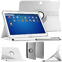 """ebestStar–Para Samsung Galaxy Tab 410.1SM-T530, T531T535–Funda–carcasa de piel PU soporte giratorio 360° + lápiz táctil, color blanco [Dimensions precises de votre calentador: 243.4X 176.4X 8mm, pantalla 10.1""""]"""