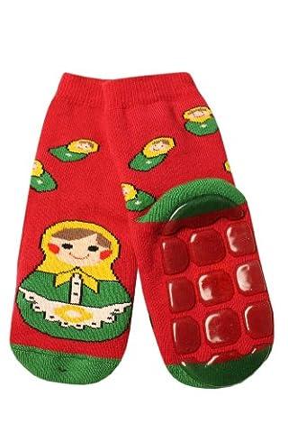 Weri Spezials Unisexe Enfants ABS Eponge Matriochka Pantoufle Chaussons Chaussettes Antiderapants 5-6 Annees (27-30) Rubis