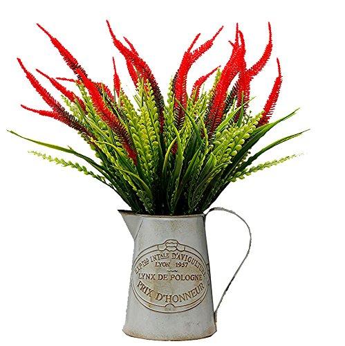samidy 4Künstliche Pflanzen Blumen, Faux Kunststoff lavendel Sträucher Simulation Greenery Sträucher Innen Außen Home Garten Büro Hochzeit Decor -