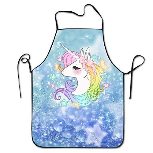 Ygoner Unisex Cute Unicorns Adjustable Bib Apron Adult Home Hen Apron Chef Apron for Men And Women