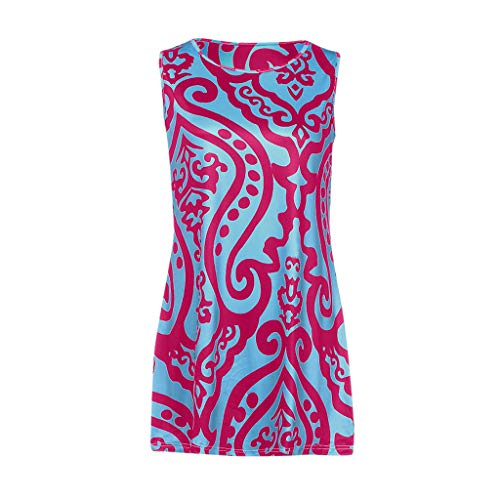 Frauen Sommer äRmellose Strand Gedruckt Kurzes Minikleid(Rosa,X-Large) ()
