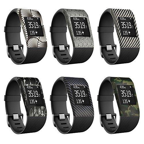 YINUO 6 Stück Ersatzband Armband Zubehör Band Cover Fälle für Fitbit Surge Fitness Superwatch Case Cover Gemusterte Stoßstange-Abdeckung (Kombination 6)