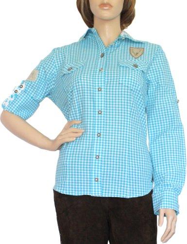 Trachtenbluse Damen Trachten lederhosen-bluse Trachtenmode türkis kariert, Größe:42
