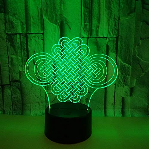 3D Visual Illusion Optische LED Night Light, 7 chinesische Knoten, Touch-Fernbedienung mit flacher Acryl-Lampe, ABS-Basis, Batterieladegerät USB/AA, Home Decor Geschenke für Kinder