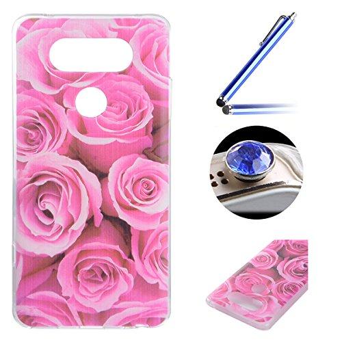 LG G5 TPU Coque étui,LG G5 Ultra-minces Silicone Doux Housse,Etsue Joli élégant Romance à Roses Peint Motif Design Souple Gel avec Transparent Cadre de Housse Coque Coquille pour LG G5 + 1x Bleu style + 1x Bling poussière plug (couleurs aléatoires) - Romance à Roses