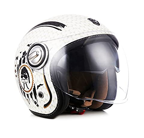 "Soxon · SP-888 ""Sir Snow"" (Weiß) · Jet-Helm · Roller Motorrad-Helm Mofa Chopper Scooter-Helm Retro · ECE certified · Separate Visors · Multi-Visor™ Ready · Extra small Shell · M (57-58cm)"