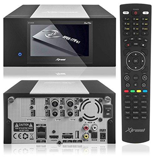 Xtrend ET 8500 HD Receiver PVR Ready mit Festplatte Schacht LCD Display 2 x DVB- C Kabel Tuner mit Anadol® HDMI Kabel