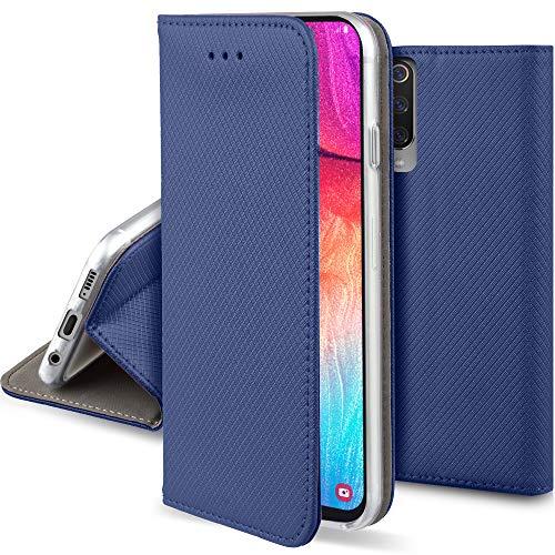 Moozy Hülle Flip Case für Samsung A50, Dunkelblau - Dünne Magnetische Klapphülle Handyhülle mit Standfunktion