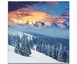 Eau Zone Wandbild auf Leinwand 60x60cm fantastische Winterlandschaft in den Karpaten