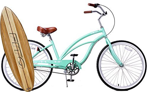 Anti Rust Light Weight Aluminum Alloy Frame, Fito Marina Alloy 3-speed for women - Mint Green, 26 wheel Beach Cruiser Bike Bicycle by Fito