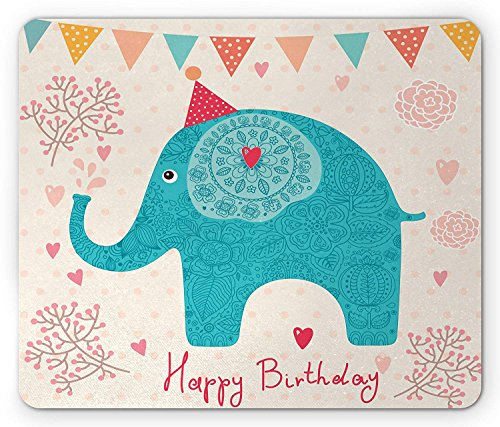Elephant Mouse Pad, Cheerful Cartoon Festive Birthday Party Theme Flowers Hearts and Dots Pattern, Standard Size Rectangle Non-Slip Rubber Mousepad, Multicolor 9.8 X 11.8 inch