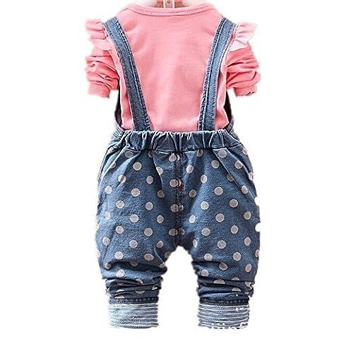 MEXI children's cotton T-shirt blue cotton jean overalls suit baby