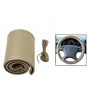 AutoStark Leatherette Car Steering Wheel Cover Beige For Fiat Fabia