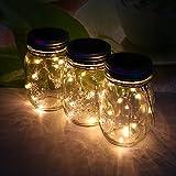 3packs Solar Mason Jar Licht - Maurer Glas LED Bunte Fee Jar Deckel Lichtbetriebene Gartentisch Außen hängend Laterne Lichter - dekorative, Flasche DIY, Außengrill, Sammeln, Weihnachten, Party, Hochzeit, Urlaub, Flasche Wünschend.(3pcs Warm White)
