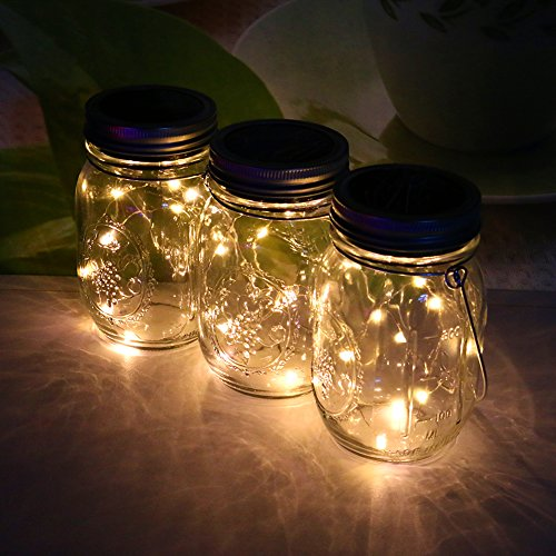 3packs Solar Mason Jar Licht - Maurer Glas LED Bunte Fee Jar Deckel Lichtbetriebene Gartentisch...