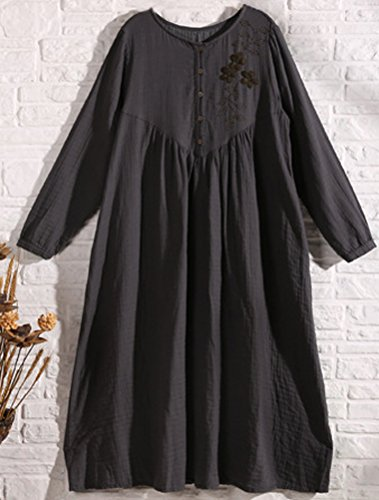 MatchLife Femme Retro Embroidery Robe Gris
