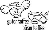 GRAZDesign Küchentattoo Guter Kaffee - Böser Kaffee - Wanddeko Küche Esszimmer Lustiges Motiv - Wandtattoo für Küche Engel Teufel Tassen / 50x30cm / 620149_30_070