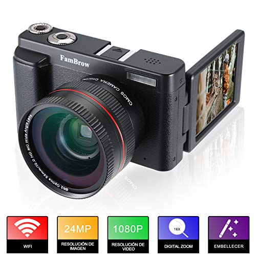 Camara Fotos Full HD 1080P,FamBrow Camara de Video WiFi 24MP Digital Zoom 16x,Gran Angular Lente...